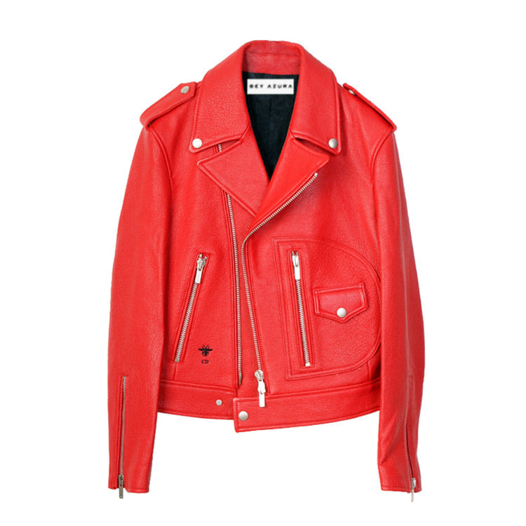 SHEEP SKIN LEATHER BIKER JACKET WITH ASYMMETRICAL ZIPPERS
