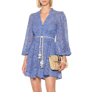 Purple Paisley Lace Big Sleeve Summer Dress - Beyazura.com