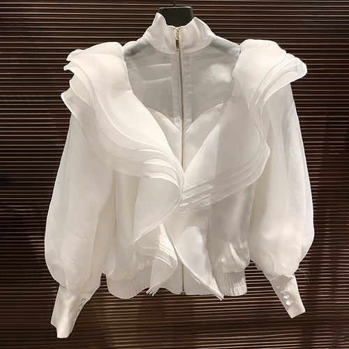 White Luxury Flared Detailed Blouse Jacket - BEYAZURA.COM