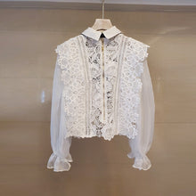 Load image into Gallery viewer, White Lace Sheer Bow Neck Shirt - BEYAZURA.COM