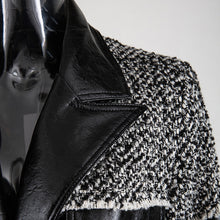 Load image into Gallery viewer, Pu Leather Trimmed Black And White Tweed Jacket - Beyazura.com