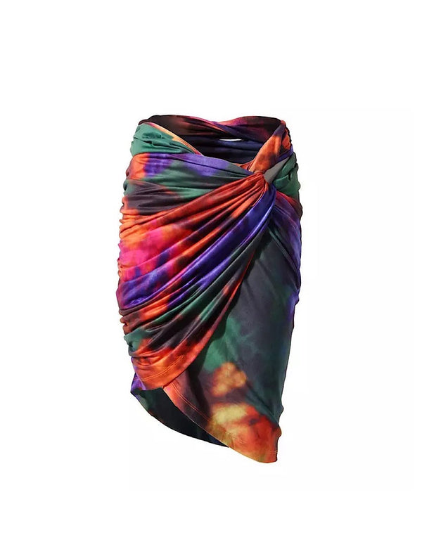 Abstract Printed Draped Bodycon Skirt - Beyazura.com