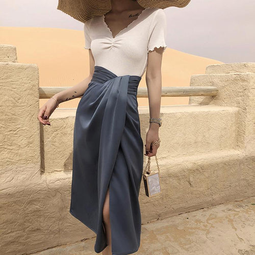 Ruched Waisted Asymmetrical High Slit Skirt - BEYAZURA.COM