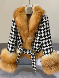 Houndstooth Brown Fox Fur Trim Belted Wool Jacket - BEYAZURA.COM