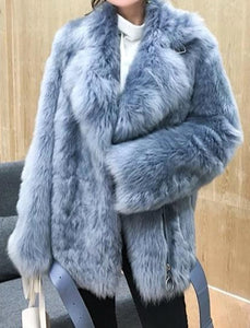 Genuine Double Sided Tuscany Sheepskin With Sheep Fur Belted Coat - Beyazura.com