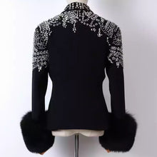 Load image into Gallery viewer, Fox Sleeve Crystal Decorated Black Blazer - BEYAZURA.COM