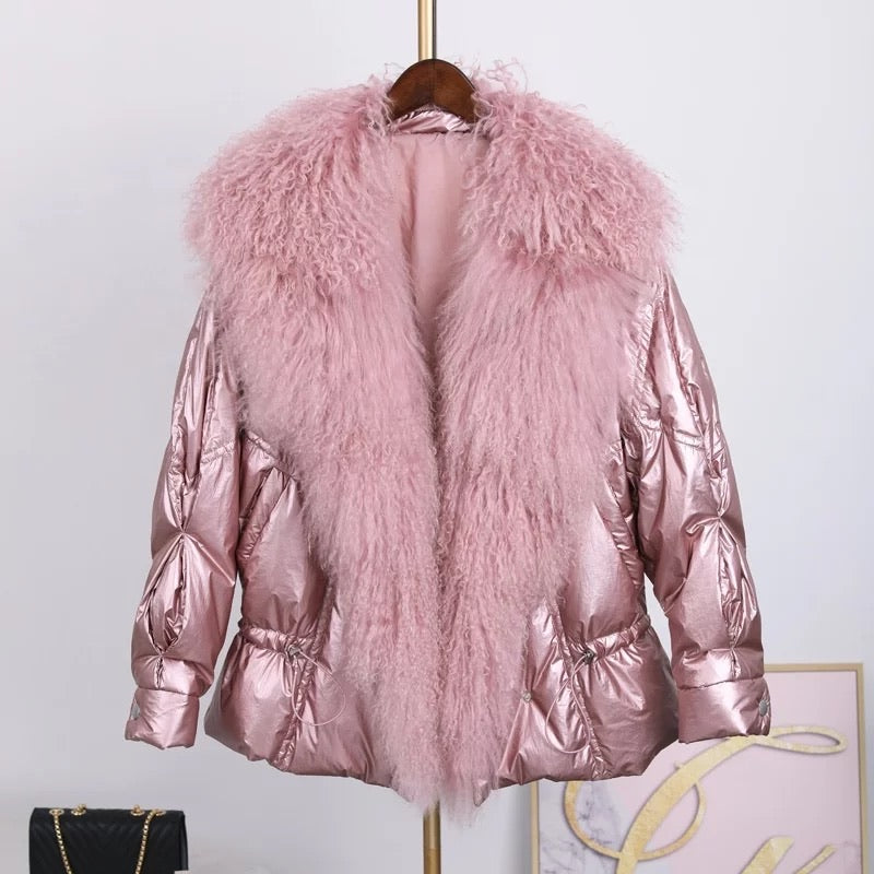 Shiny Metallic Down Parka Puffer Jacket With Sheep Fur Trims - BEYAZURA.COM