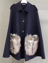 Load image into Gallery viewer, Fox Fur Patched Pocked Wool Poncho - BEYAZURA.COM