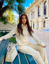 Load image into Gallery viewer, Beige Long Sleeve Top Hoodie and Jogging Pant Coord Set