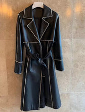 Load image into Gallery viewer, Sheepskin Leather Long Coat With Crystal Trims - BEYAZURA.COM