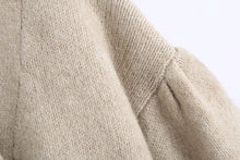 Load image into Gallery viewer, Beige Cozy Loose Sleeve Sweater With Rhinestone Buttons - Beyazura.com