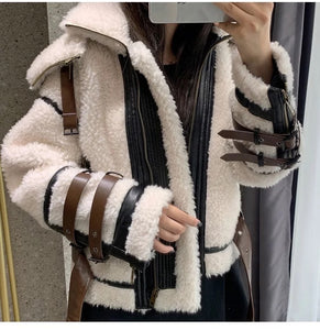 Lamb Wool Sheep Searing Fur Jacket With Stand Up Collar - BEYAZURA.COM