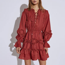 Load image into Gallery viewer, Ruffle Skirt and Ruched Above The Knee Dress in Red - BEYAZURA.COM