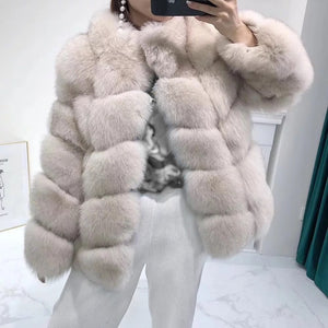 Fox Fur Panel Mid Lenght Fur Coat - Beyazura.com