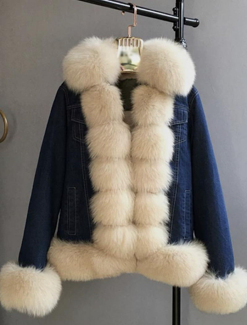 Fox Fur Trimmed Parka Denim Coat With Rabbit Fur Lining - BEYAZURA.COM