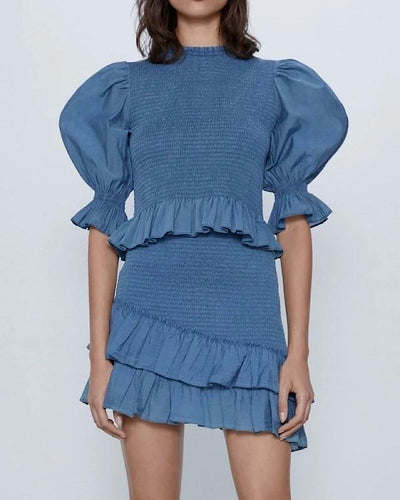Blue Puff Sleeve Elastic Top And Skirt Two Piece Set - Beyazura.com