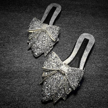 Load image into Gallery viewer, Extra Sparkly Pointed Toe Ribbon Slides - Beyazura.com