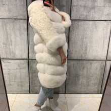 Load image into Gallery viewer, Lamb Fur Sleeve Midi Fox Fur Coat - BEYAZURA.COM