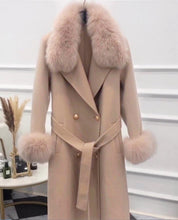 Load image into Gallery viewer, Lux Double Sided Cashmere Fox Fur Trim Midi Coat - BEYAZURA.COM