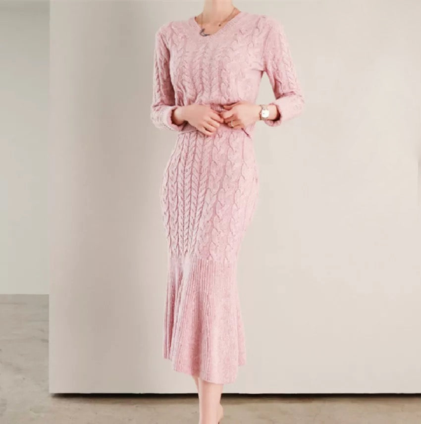 Pink Cable Knit Mermaid Skirt and V Neck Sweater Co Ord Set - BEYAZURA.COM