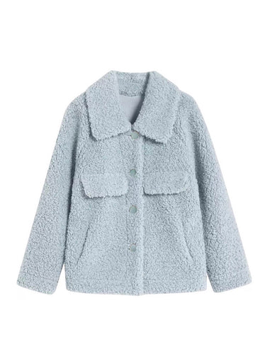 Faux Fur Teddy Side Flapped Outerwear Coat - BEYAZURA.COM