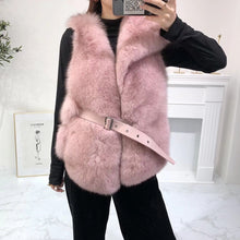 Load image into Gallery viewer, Luxury Soft Fox Fur Gilet With Leather Belt - BEYAZURA.COM