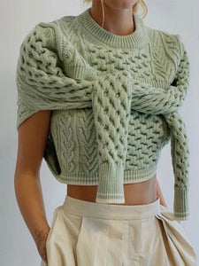 Cable Twist Braid Knit Two Piece Sweater - BEYAZURA.COM