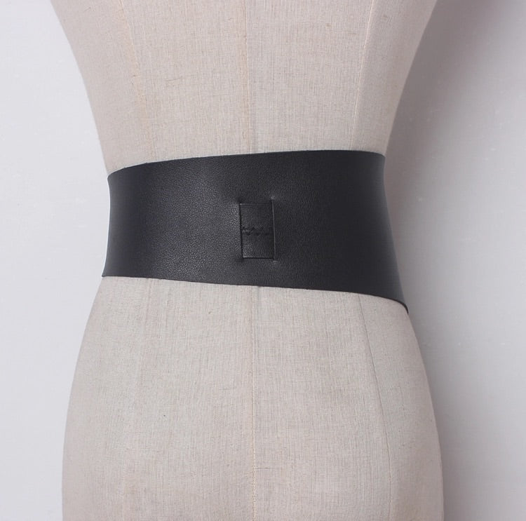 Vegan Leather Irregular Size Long Strap Belt - BEYAZURA.COM