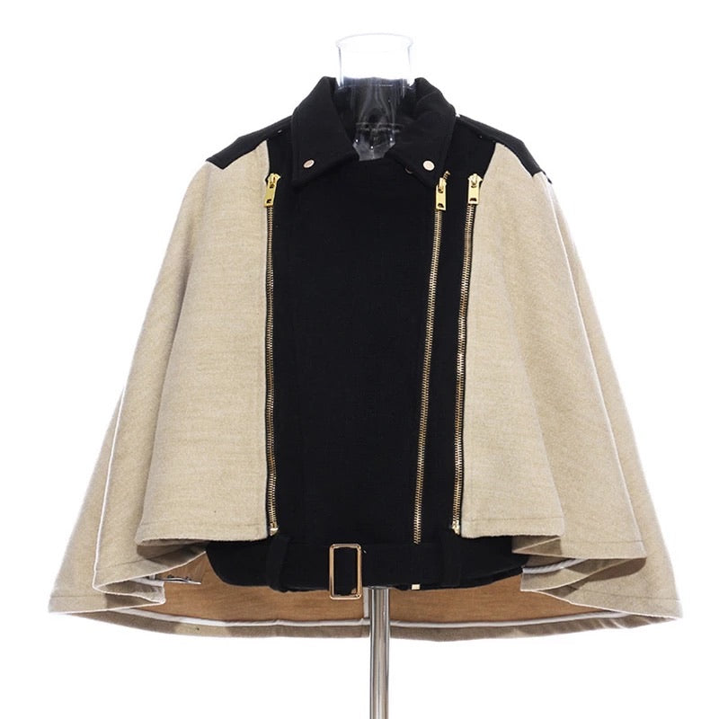 Belted Contrast Half Denim Cape Jacket - BEYAZURA.COM