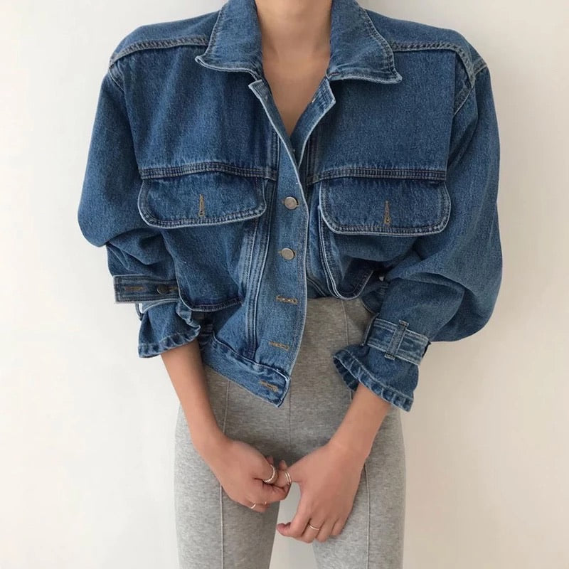 Elastic Waist Denim Jacket With Big Pockets - BEYAZURA.COM