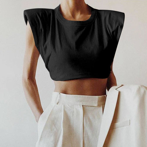 Black Cotton Shoulder Pads Crop Tee - Beyazura.com
