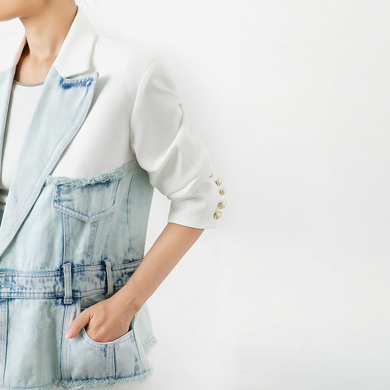 Half Denim Half Solid Long Blazer - BEYAZURA.COM