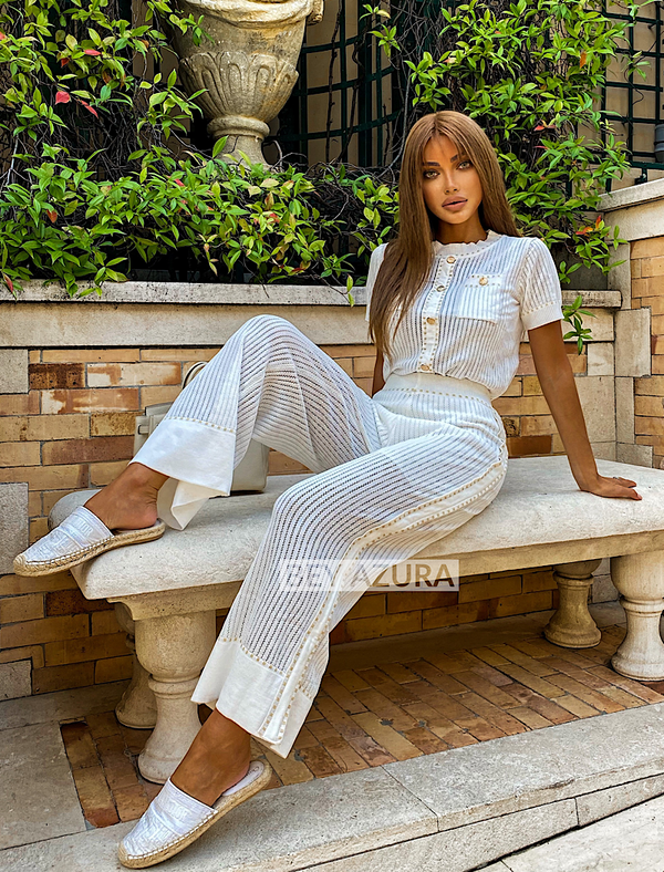 Gold Detailed Short Sleeve Top And Wide Leg Cropped Pants Two Piece Set - Beyazura.com
