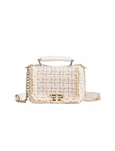 Wool Tweed Flap Gold Strap Handbag - Beyazura.com