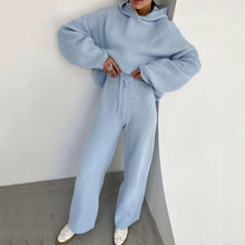 Load image into Gallery viewer, Hoodie Long Sleeve Top And Trouser Two Piece Knit Set - BEYAZURA.COM