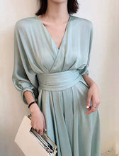 Load image into Gallery viewer, Green Asymmetrical Flowy V Neck Dress
