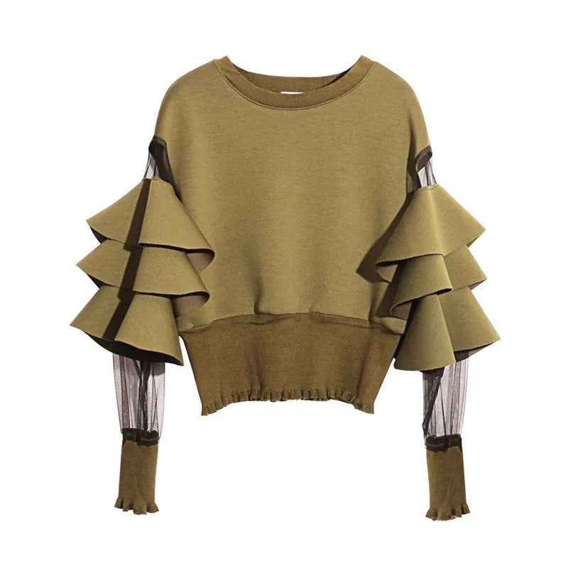 RUFFLE MESH SLEEVE RIB KNIT WAIST SWEATER