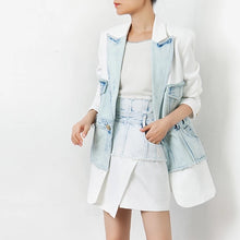 Load image into Gallery viewer, Half Denim Half Solid Long Blazer - BEYAZURA.COM