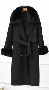 Lux Double Sided Cashmere Fox Fur Trim Midi Coat - BEYAZURA.COM