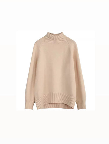 High Neck Oversize Warm Knit Sweater - BEYAZURA.COM