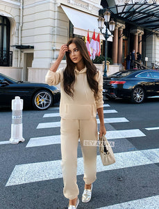 Beige Long Sleeve Top Hoodie and Jogging Pant Coord Set - Beyazura.com