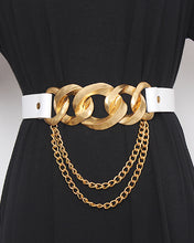Load image into Gallery viewer, White Bulky Gold Chain Belt - BEYAZURA.COM