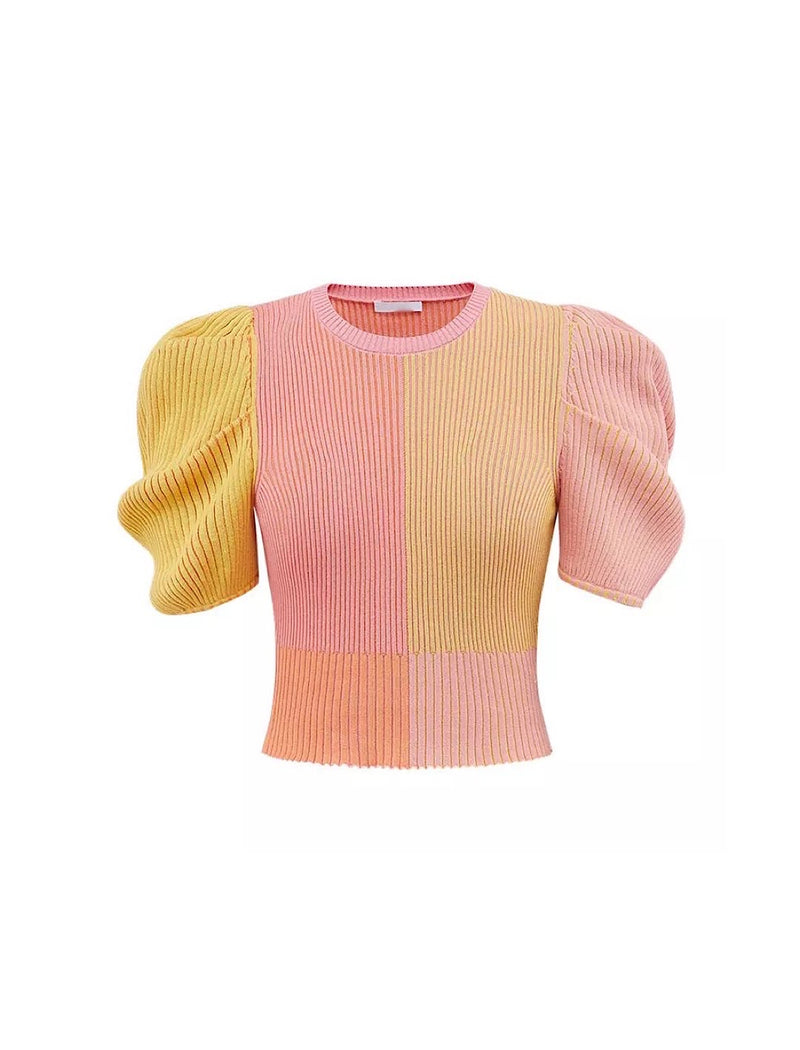Multi Color Puff Short Sleeve Knit Top - Beyazura.com