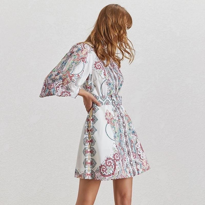 Paisley Print Button Down Shirt Dress - BEYAZURA.COM