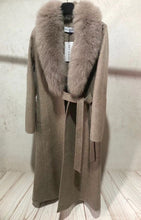 Load image into Gallery viewer, Long Wool Cashmere Coat With Removable Fox Fur Trims - BEYAZURA.COM