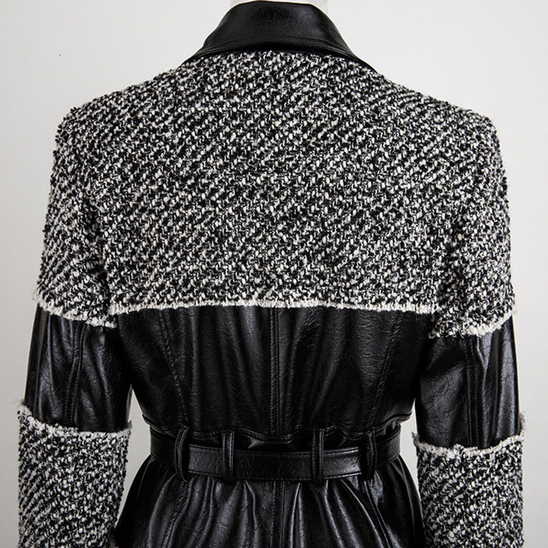 Pu Leather Trimmed Black And White Tweed Jacket - BEYAZURA.COM