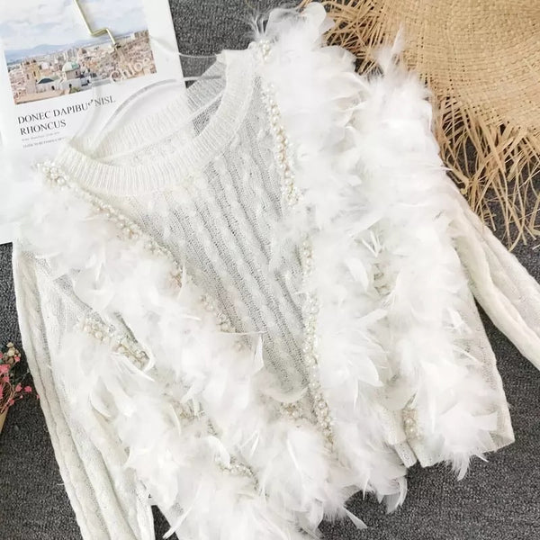 Ultra Glam Feather And Pearl Knit Sweater - Beyazura.com
