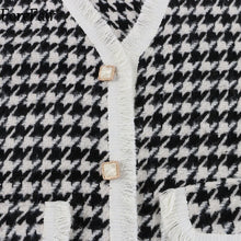 Load image into Gallery viewer, Fringed Houndstooth Pattern Knit Long Vest - BEYAZURA.COM
