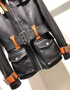 Lambskin Leather Contrast Belted Jacket - BEYAZURA.COM