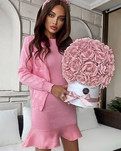 Ribbed Knit Flared Hem Bodycon Dress and Cardigan Two Piece Set in Pink - BEYAZURA.COM